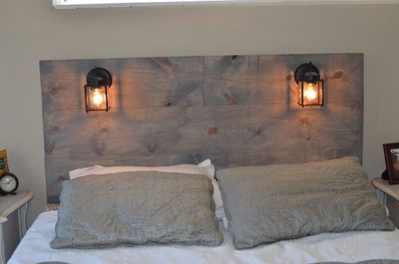 Rustic headboard with built in lighting for Rustic headboard with lights