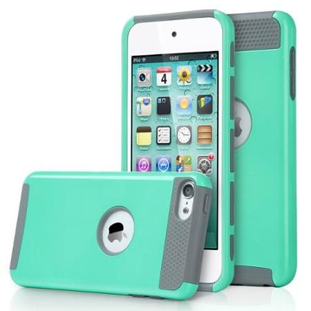ULAK [2 in 1 Shield Series] Hybrid Hard Case Cover for Apple iPod touch 5th 6th Generation (Aqua Mint/Grey)
