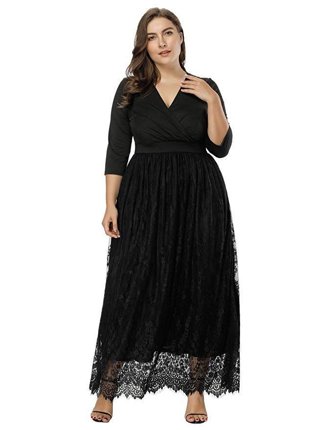Hanna Nikole Women s Plus Size Lace 3 4 Sleeves Evening Gown Party Long  Maxi Dress Size 2X ccec57a0d