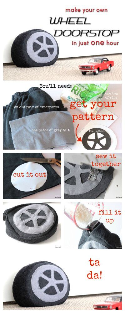 Full tutorial and pattern: How to make a car tyre/ wheel doorstop or cushion in just one hour - using an old pair of sweatpants! Great for little boys' rooms.