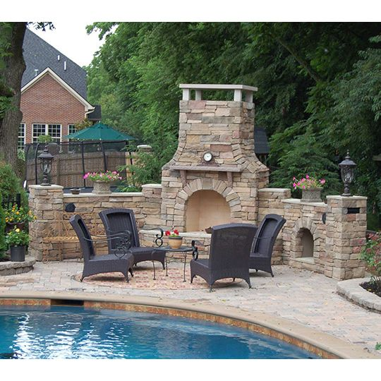 42 In Firerock Arched Masonry Outdoor Fireplace New Desert House Ideas Pinterest