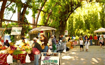 Fresno's Vineyard Farmer's Market. Fresno, California. (Went here for a protein drink just before the spa on our wedding day!)