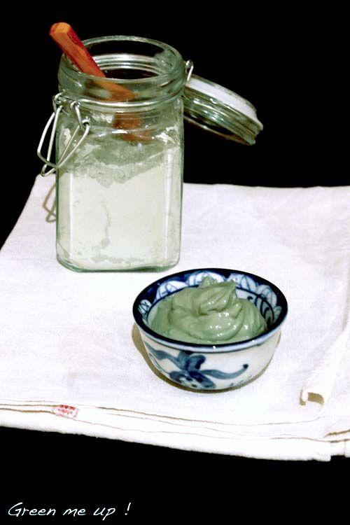 masque purifiant à l'argile verte - 12g argile verte + 1cs vin de cidre + 1 peu d'eau  10mn de pose