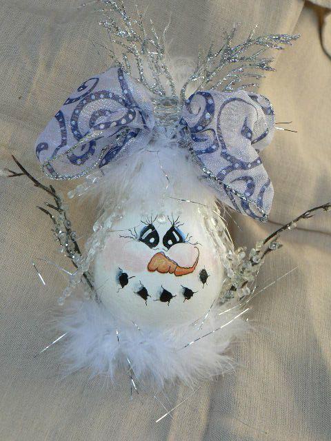 Snowman light bulb ornament . made from old light bulb