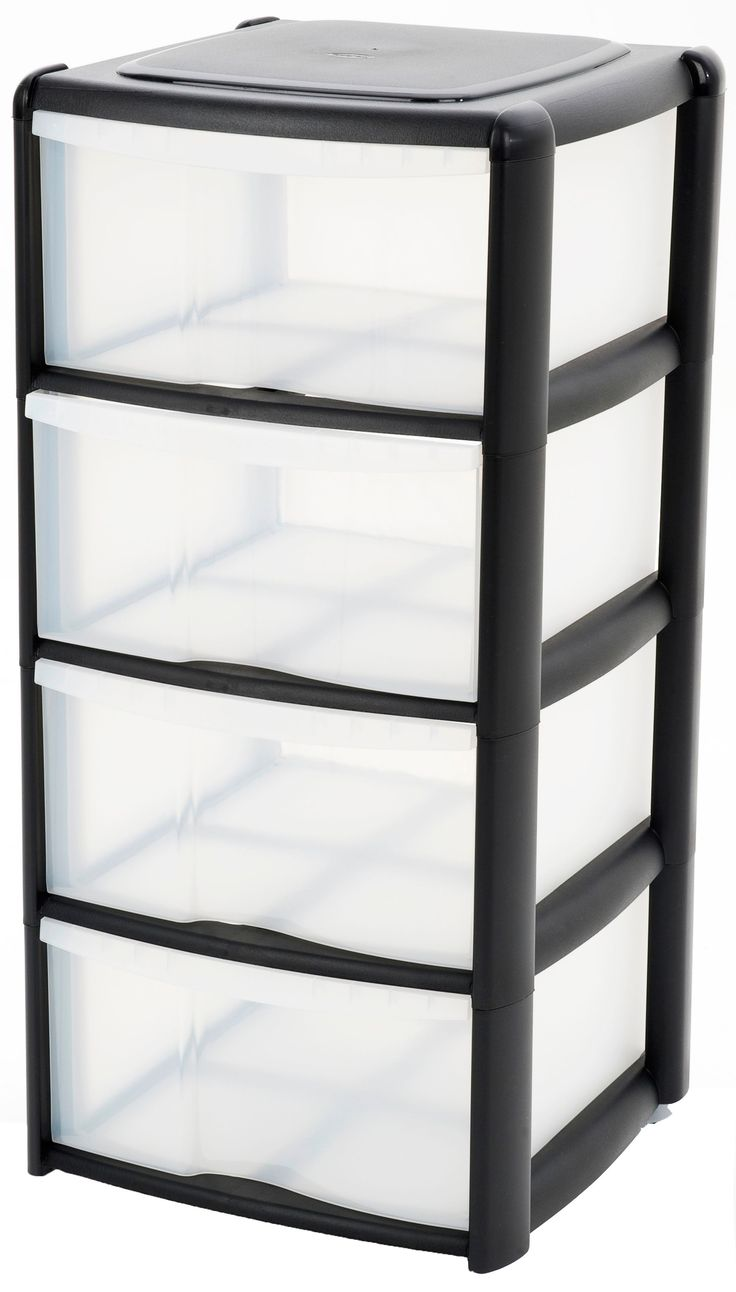 B&Q Black & Clear Plastic 4 Drawer Tower Unit | Rooms | DIY at B&Q