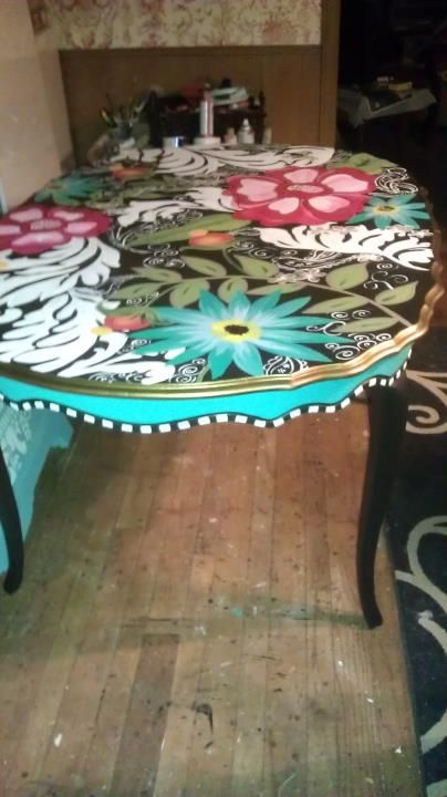 256 best funky painted upholstered furniture images on for Really cool dining tables