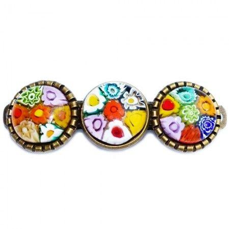 Kleurrijke haarspeld/haarknip met multicolor gekleurde bloemen van millefiori glas.