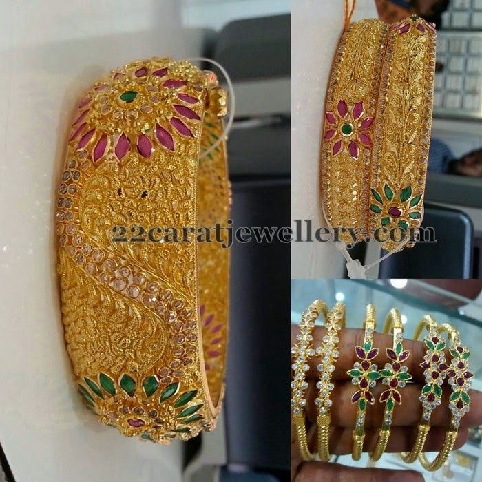 Jewellery Designs: Antique Finish Bangles with Rubies