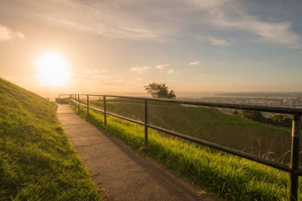 sunset over the crater of mount eden volcano in auckland north island