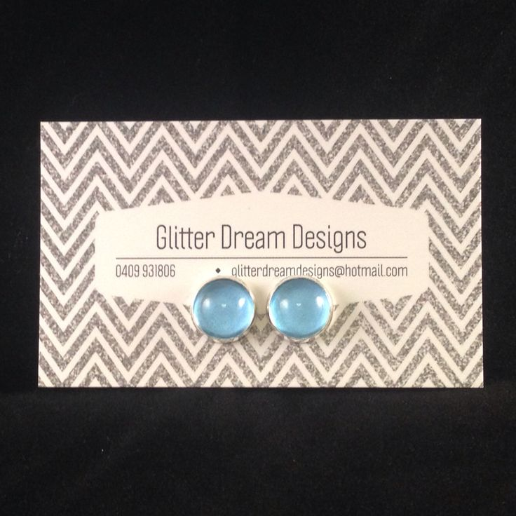 Order Code B8 Blue Cabochon Earrings