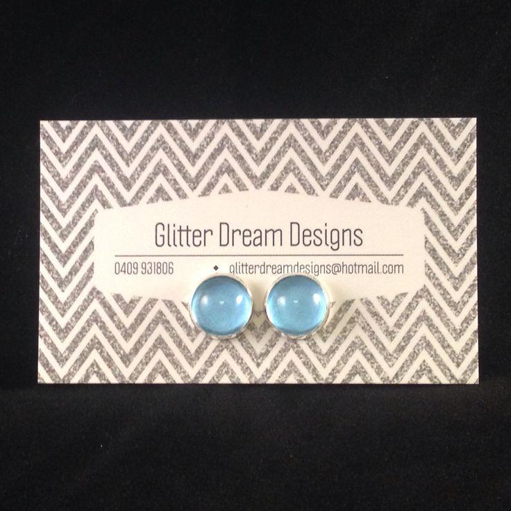 Order Code B8 Blue Cabochon Earrings