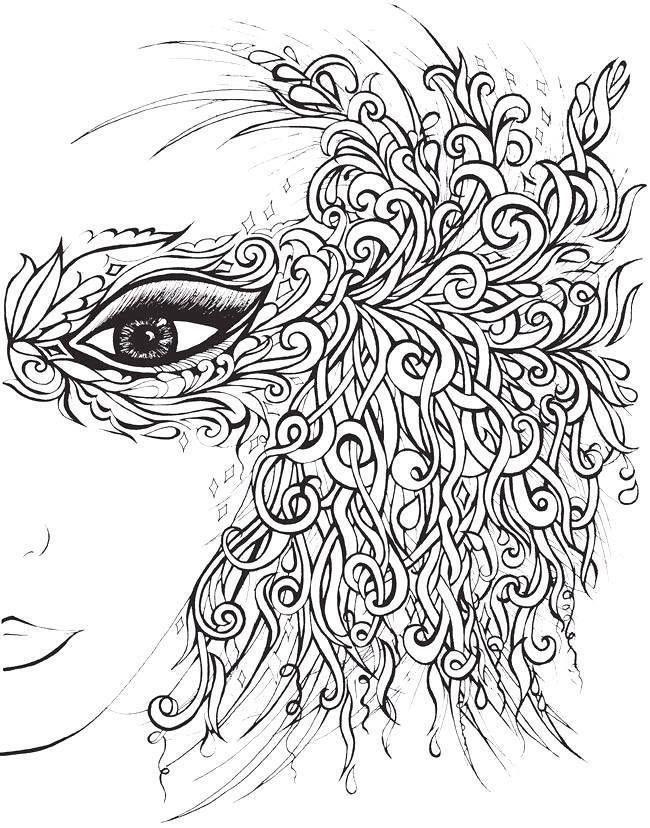 coloriage coloring woman femme masque