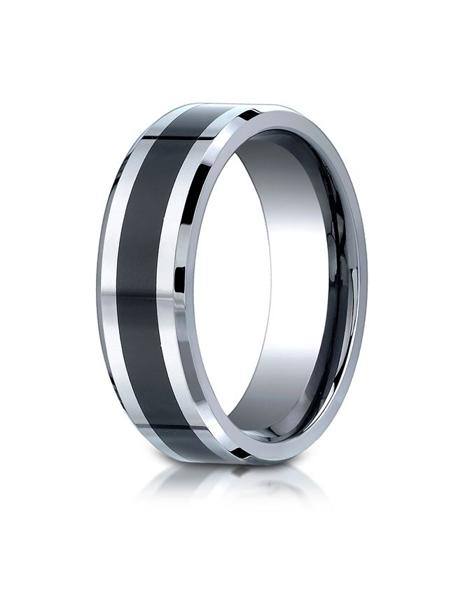 benchmark mens comfort fit colbalt chrome ceramic high polish wedding band michaels jewelers - Cobalt Wedding Rings