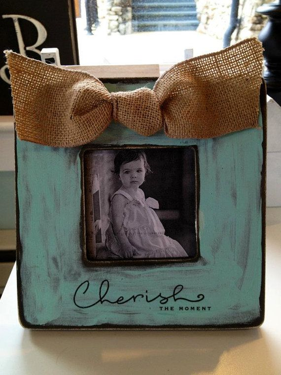 Sweet  Tiffany Blue Picture Frame with Burlap Tied Bow and Cherish the Moment Quote - Great for Baby Wedding and Other Gift