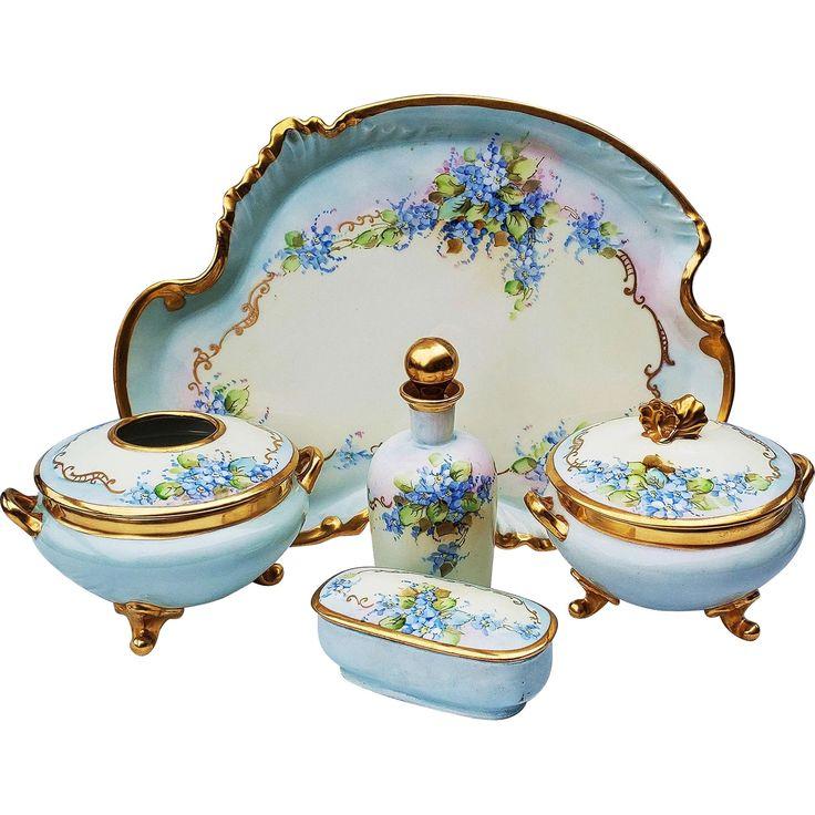 Gorgeous Vintage Limoges France 1900 Hand Painted Forget Me Not 5 Pc Floral Dresser Set