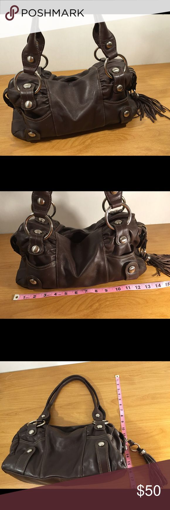 B Makowsky Large Brown Leather Satchel Handbag This chocolate brown with silver hardware purse is in very good condition. Please see pics for more details on condition and measurements. Thanks!! b. makowsky Bags Satchels