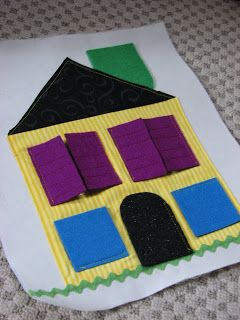 Cute idea! I'd put pictures of family behind the shutters! Shenanigans: Peek-A-Boo Quiet Book Page