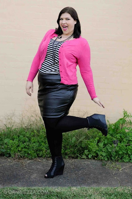 Curvy Plus Size Fashion OOTD Pink Stripes Pleather Tights