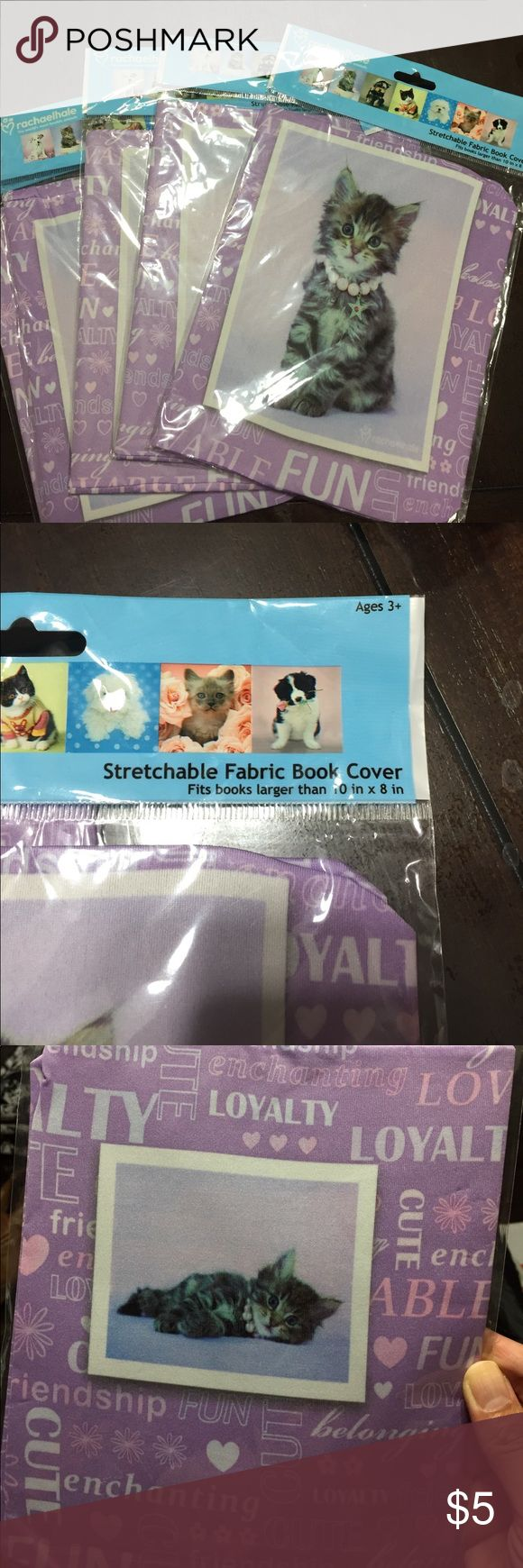 """Set of 5 stretchable fabric book covers Cute kitten book covers fits books larger than 10""""x8"""" books.  Great for the little ones so they don't mess up the books or for college books to protect them so it can be resold Other"""