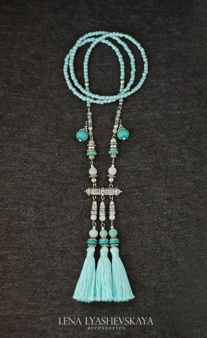Tibetan style tassel necklace with jade beads and turquoise beads