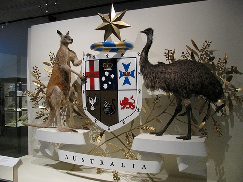 The Australian Coat of Arms display at the Melbourne Museum