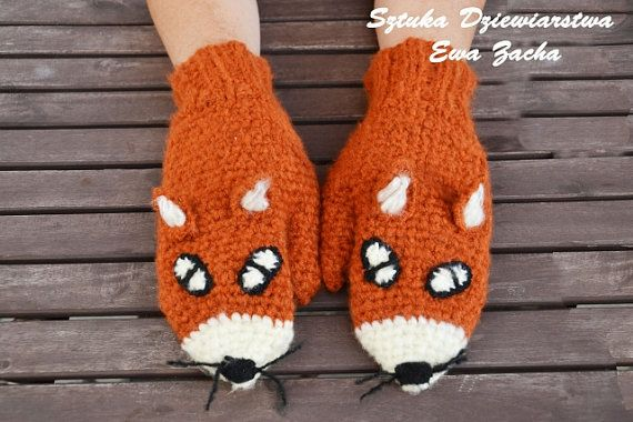 Crochet Fox Mittens Gloves in Red Orange  Warmers от ilovemyyarn