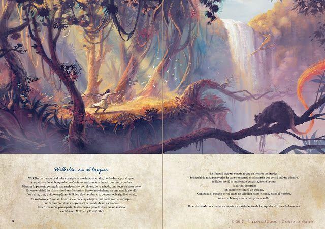 """""""Wilkilén jugando en el bosque"""".  VENADO - El arte de los Confines-  Textos de Liliana Bodoc, ilustraciones de Gonzalo Kenny."""