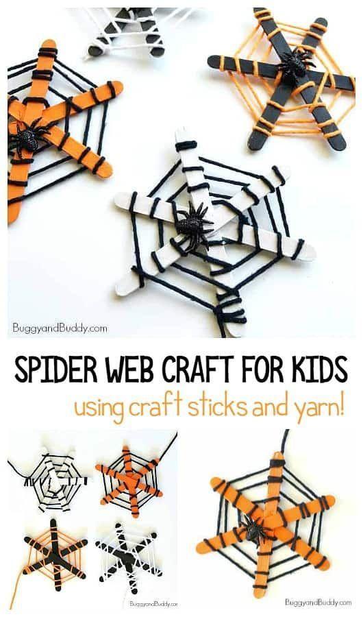 Halloween Craft for Kids: Spinnennetze aus Eis am Stiel und Garn! Fun fi