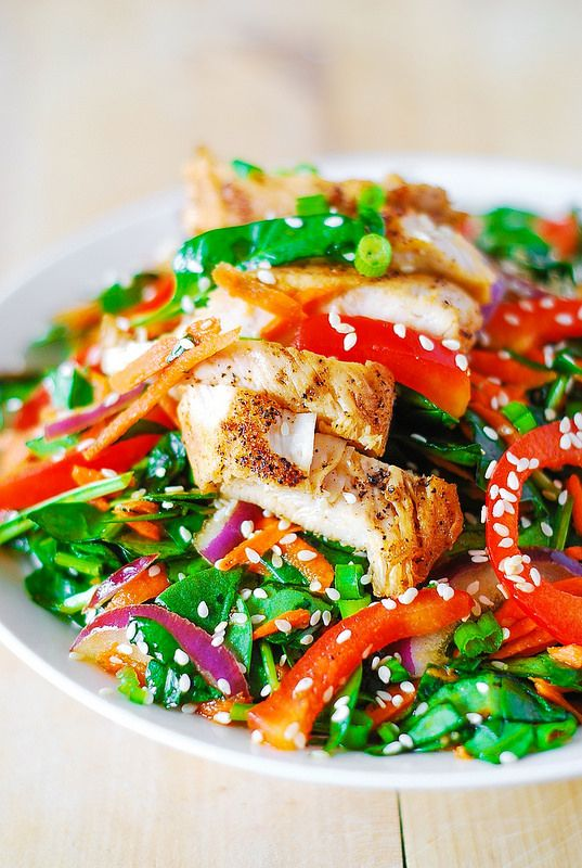 Asian chicken salad recipe with ginger sesame dressing. Yummy dressing ...