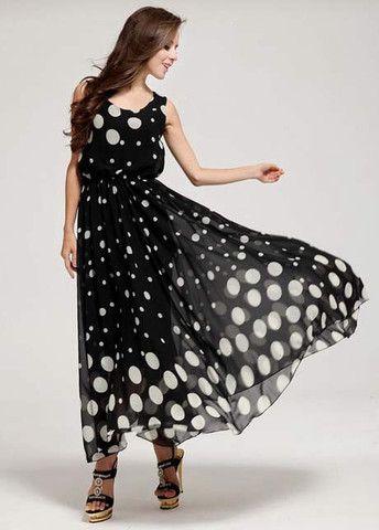Cute Polka Dot Sheared Waist Sleeveless Maxi Dress – teeteecee - fashion in style
