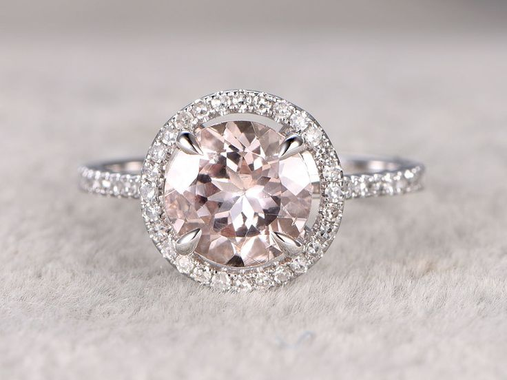 Morganite White Gold Engagement Ring With Diamond 1.8 carat Float Halo Claw Prongs Promise Band 14k/18k - BBBGEM