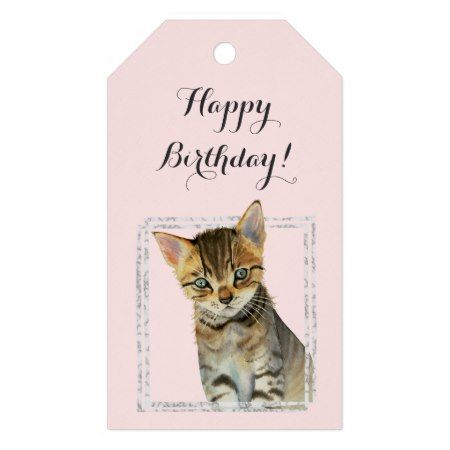 Kitten Painting with Faux Marble Frame Birthday Gift Tags - click to get yours right now!  #birthday #bday  #cat #cats #catLovers #pet #pets #illustrations #illustration #animal #animals