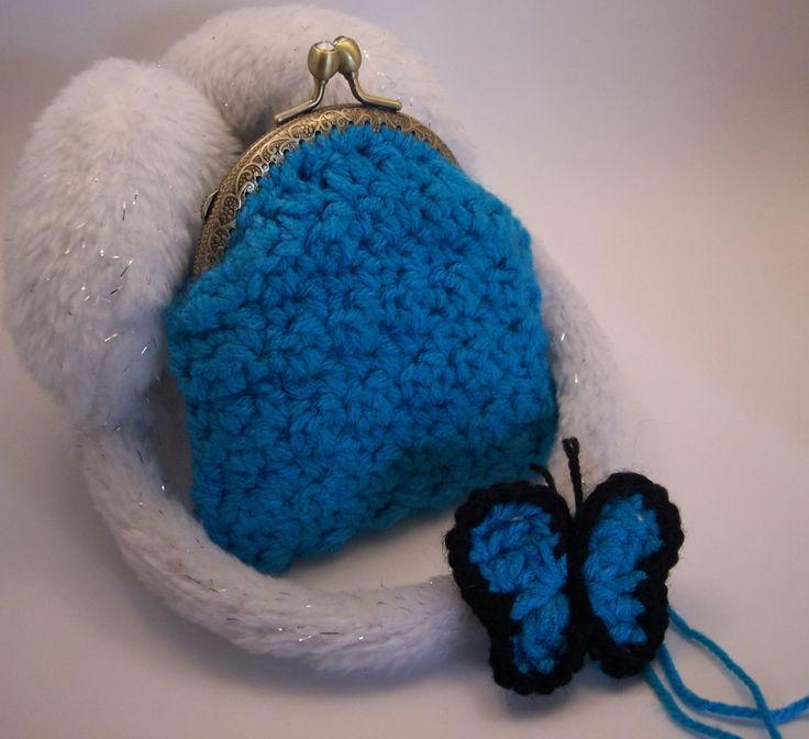 Clutch Purse with a batterfly Broach (Brooch) Crochet Handmade - pinned by pin4etsy.com