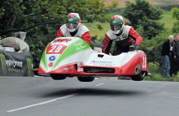 Keith in the air at the TT circuit on the Isle of Man