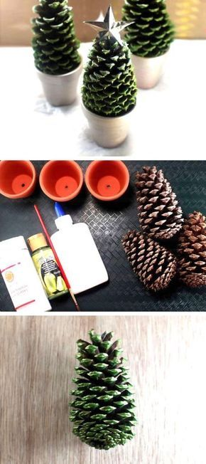 Pine cone DIY Christmas tree craft idea for your Holiday decor. Make these with …