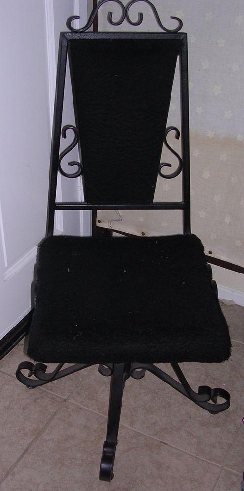 """39x 17"""" Mid Century Mediterranean Goth Steam Punk Revolving Black Iron Chair Fur #MidCenturyMediterraneanGothSteampunkRennaisan"""