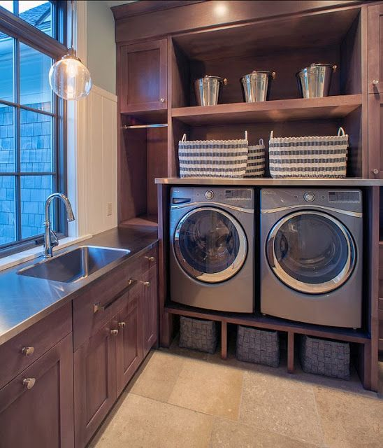 I love the window at the sink....log home laundry rooms | visit homemadeinheaven blogspot ca