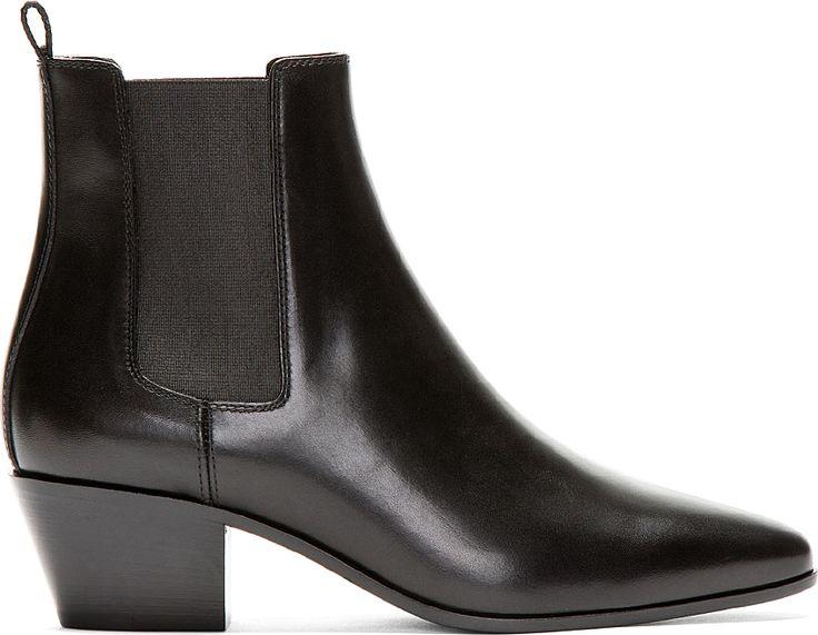 Saint Laurent: Black Leather Chelsea Boots