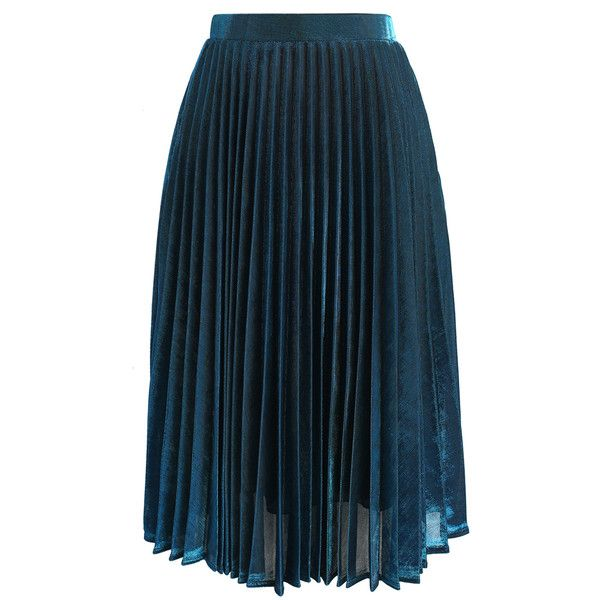 Chicwish Shine Your Way Pleated Midi Skirt in Sapphire Blue (985 MXN) ❤ liked on Polyvore featuring skirts, blue, blue pleated skirt, pleated skirt, metallic midi skirt, textured skirt and pleated midi skirts