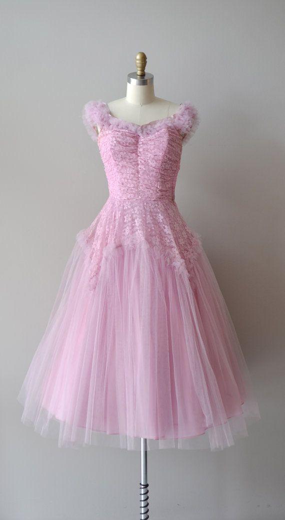Flon Flon dress / vintage 1940s dress / tulle 40s by DearGolden