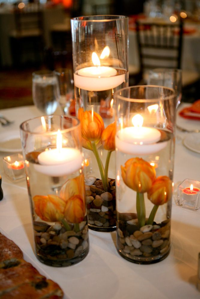 Tall cylinder floating candle center pieces