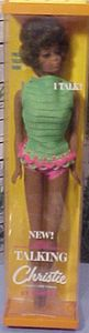 Talking Christie Doll was introduced in 1968. She was the first African American Barbie size Doll. Black Francie, introduced in 1967, was the very first in the Barbie family of dolls. Julia doll, using Christie's head/face mold, was introduced in 1969.