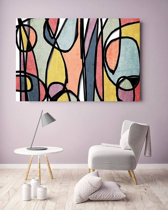 Vibrant Colorful Abstract-0-19. Mid-Century Modern Colorful Canvas Art Print Mid Century Modern Canvas Art Print up to 72″ by Irena Orlov