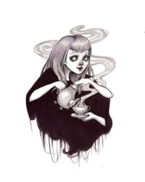 art girl cute beautiful creepy pink strange tea creature different goth Macabre PASTEL COLORS pale pastel goth nu goth creepy cute nugoth