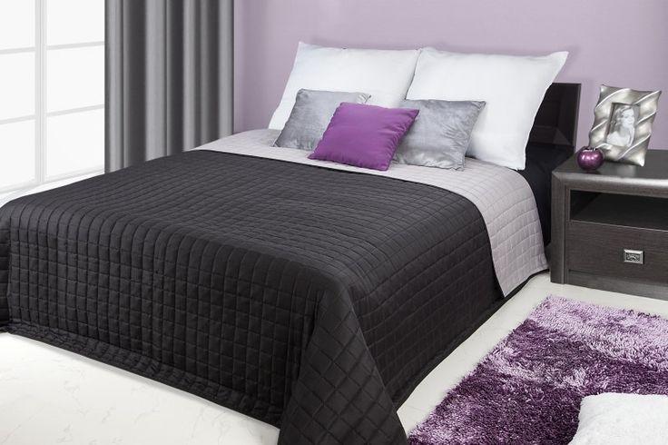 Narzuty i kapy dwustronne na łóżko w kolorze czarno stalowym