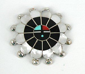 Authentic Native American Zuni Indian Sterling Silver and stone inlay Sunface pin pendant by Pauline Lonjose