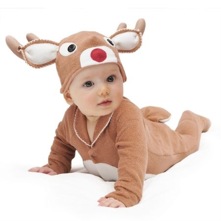 Christmas in #HTFStyle Red-nosed reindeer baby & toddler costume with hat | hardtofind.