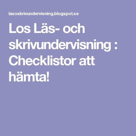 Los Läs- och skrivundervisning : Checklistor att hämta!