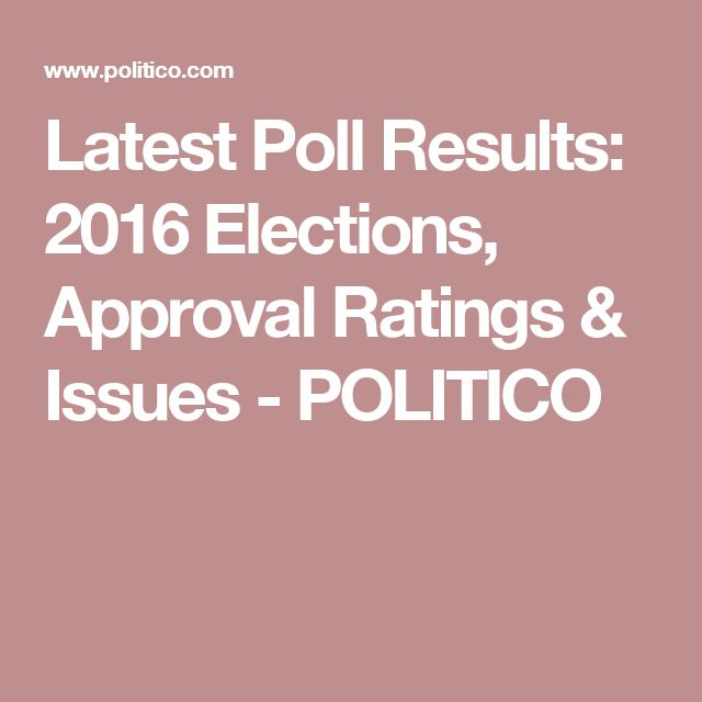 Latest Poll Results: 2016 Elections, Approval Ratings & Issues - POLITICO