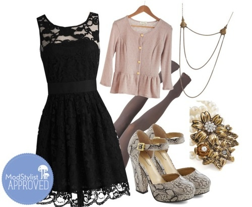 One of our most popular dresses, is the When the Night Comes Dress, and thankfully we have it in 3 amazing colors! A customer wrote in last week asking how to style this lovely dress in black for a wedding, and I really love how this outfit turned out. Black lace, mauve cardigan w/ gold details, gold jewelry, and snakeskin heels….perfect for fall (or anytime)!  <3 Chelsey, ModStylist  Need styling suggestions, trend tips, or dress details? Ask a ModStylist and your question might be featu